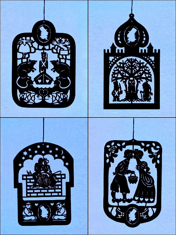 4 Pcs. Hans Christian Andersen's Black Brass Mobile Hangers