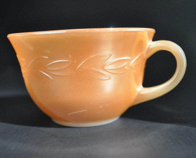 2 Fire King Laurel Golden Peach Luster 8 oz Coffee Cups