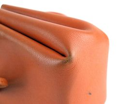 Authentic HERMES Paris Orange Leather Tiny Cosmetic Pouch Wristlet Purse France image 7
