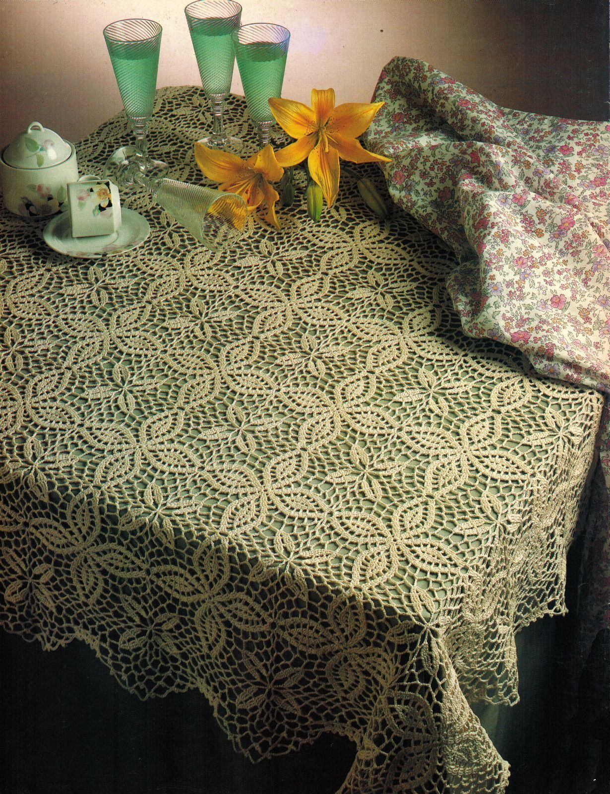 Challenging SPLENDOR TABLECLOTH TOPPER Doily Crochet Pattern