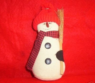 Country Muslin Snowman with Straw Broom