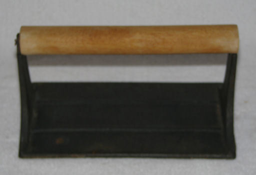 Cast Iron Bacon Press with Wooden Handle