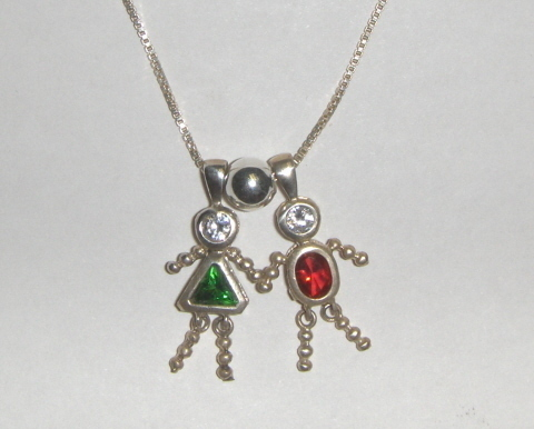 Sterling & CZ Birthstone Kid Necklace w/4 Kids-Children