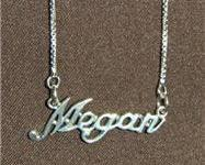 Sterling Silver Name Necklace - Name Plate - MEGAN