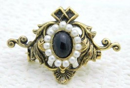 Antique Victorian Gold Filled Faux Pearl Black Glass Cabochon Pin - $29.70