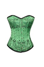 Green Satin Black Sequins Gothic Burlesque Bustier WaistTraining Overbust Corset - $69.99