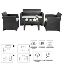 Outdoor Furniture Set Sectional Patio Sofa w Coffee Table Rattan Lovesea... - $360.87