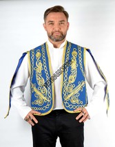 BLUE VEST Embroidered Vest Turkish Authentic Sleeved vest - $44.00