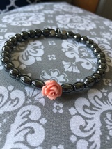 NEW!  Minimalist Black Hematite Rose Bracelet  - $12.99
