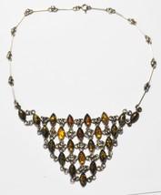 Beautiful Antique Sterling Silver Diamond Amber Choke Bone Link Necklace... - $115.46