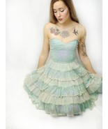 Vtg Betsey Johnson Mint Green Ivory Sequin Tiered Ruffle Tea Party Corse... - $65.45