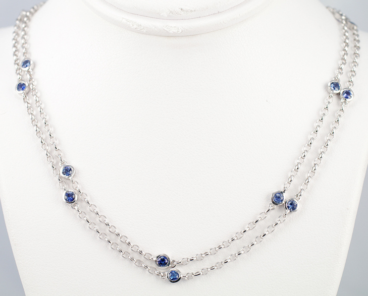 Primary image for Blue Sapphire Necklace 925 Sterling Silver W/G Plated