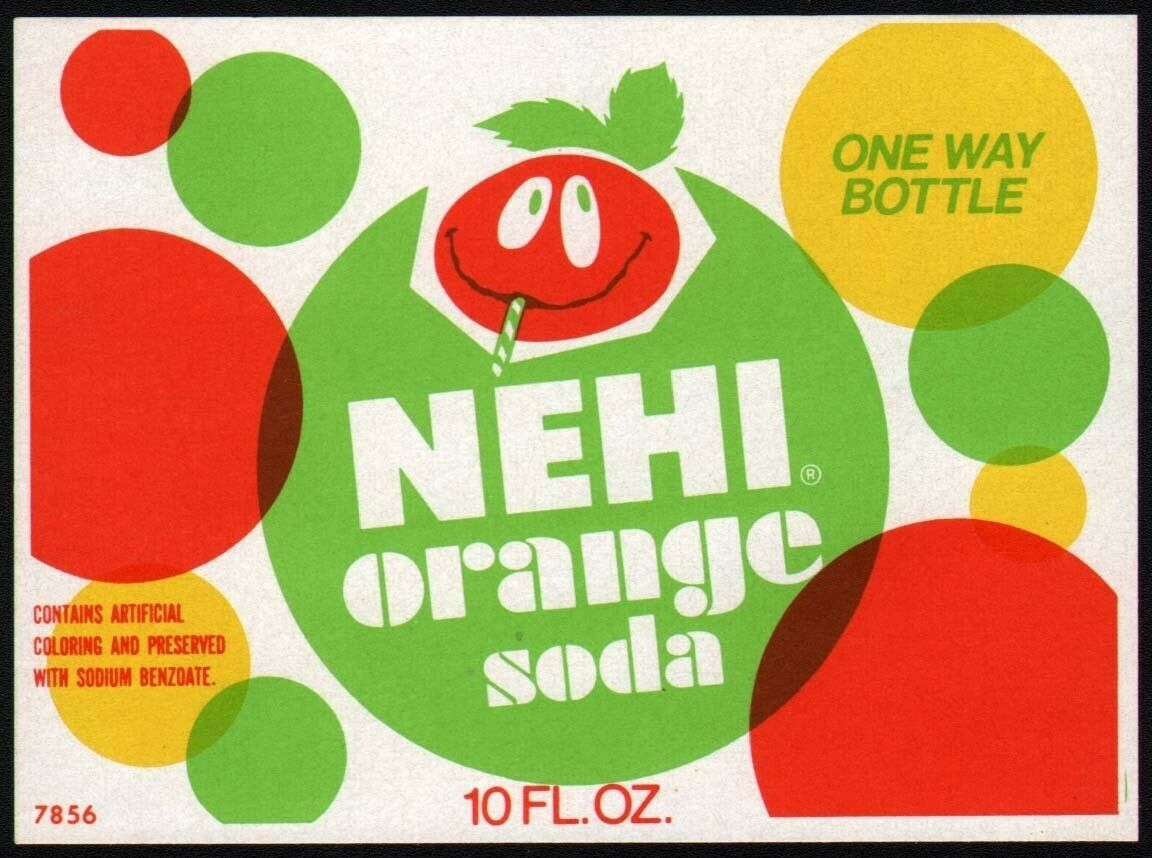 Primary image for Vintage soda pop bottle label NEHI ORANGE face pictured new old stock n-mint+