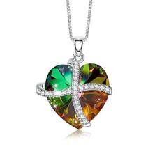 Swarovski Crystals Rainbow Pave Heart Ribbon  Necklace - $29.99