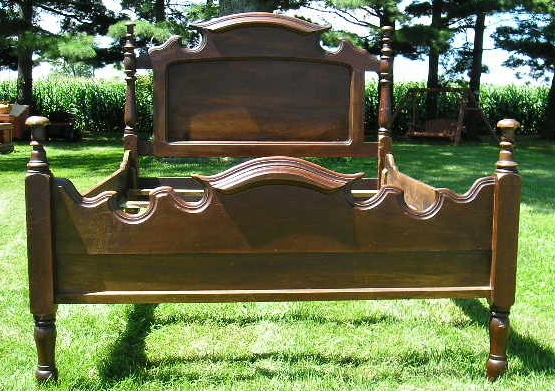 A Beautiful Antique Hardwood Bed Frame