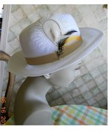 Fedora white weave feather cool summer hat Gatsby stage - $16.00