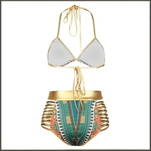 Green Design Pattern Halter Top High Waist Gold Straps Bandage Bikini Swim Suit image 3