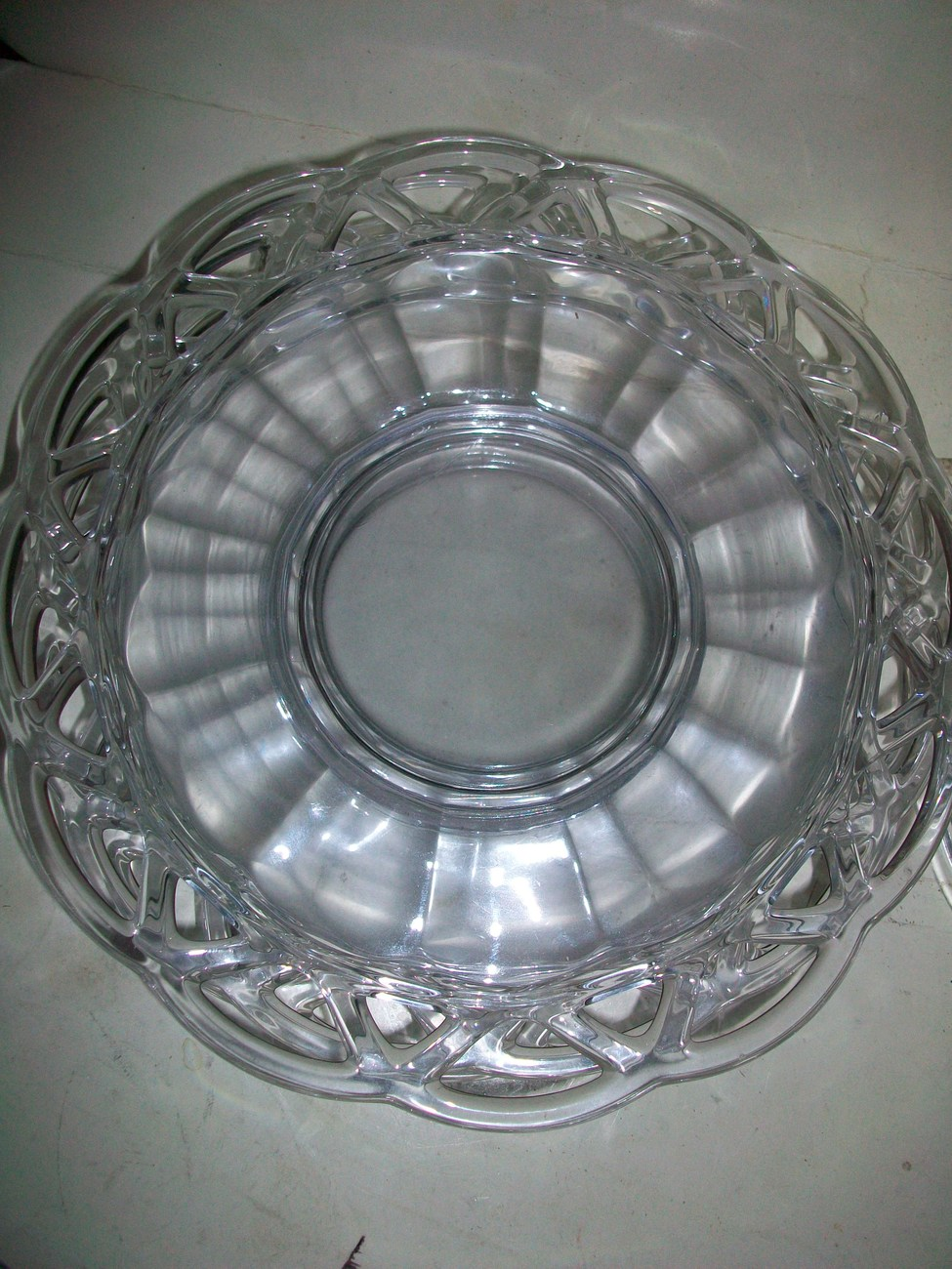 IMPERIAL GLASS CO CROCHETED CRYSTAL[6] MAYO PLATES~1943-50s