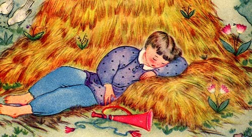 Little Boy Blue 1944  Margot Austin Vintage Art Book Print
