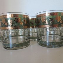 Vtg Set 5 Cora Low Ball Rocks Glasses Green Gold Grapes Greek Columns MCM - $23.76