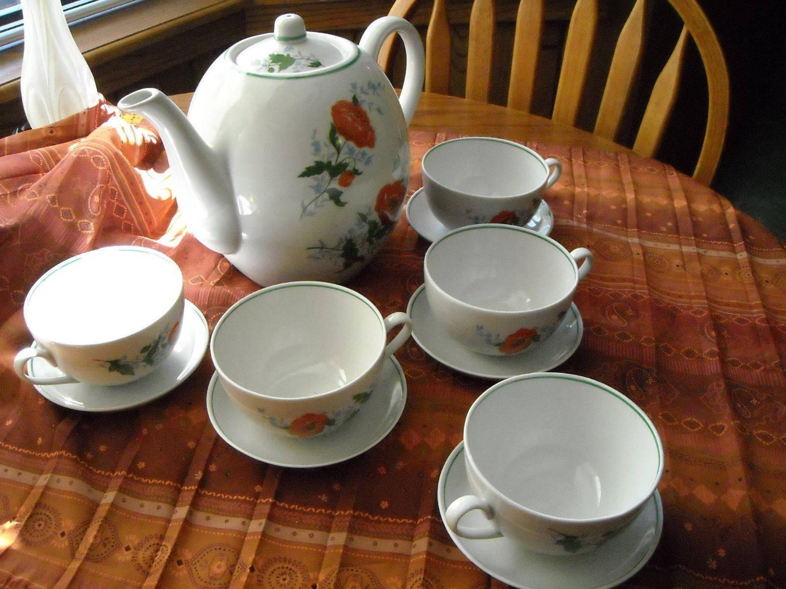 Antique Large Tea Pot & Large Cups Saucers Russian Dmitrov Verbilki Orange Poppy image 2