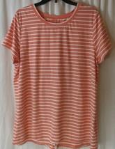 Cuddl Duds Flexwear Split Back Tee sz XL women Shirt soft Orange Stripe ... - $15.83