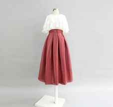 Burgundy Midi Party Skirt Outfit Glitter A-line Pleated Midi Skirt Plus Size image 4