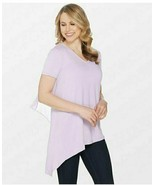 Lisa Rinna Collection V-Neck Top with Chiffon Back Detail Orchid Petal S... - $22.27