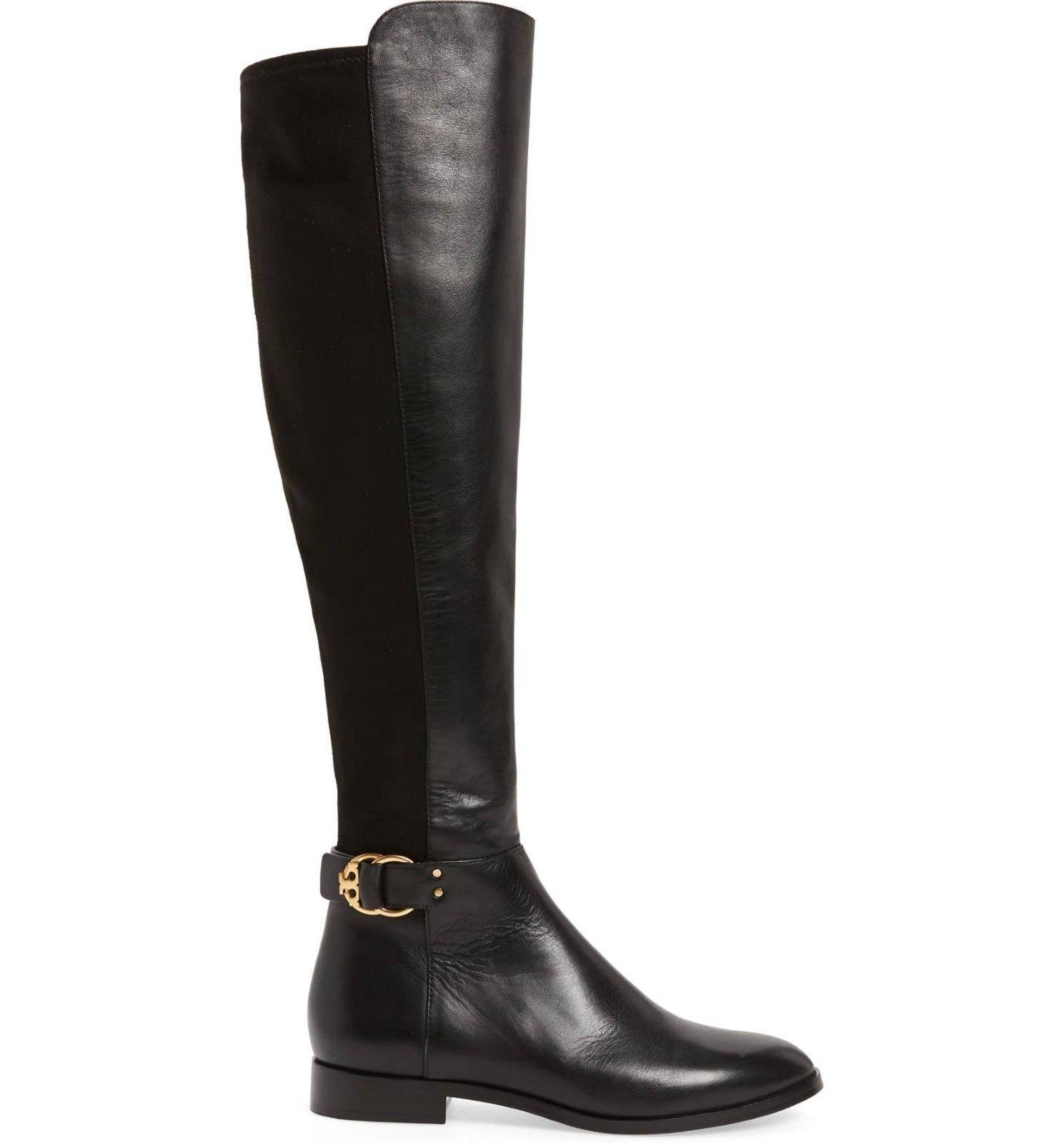 aaa63237c739 7431. 7431. Previous. Tory Burch MARSDEN Stretch Riding Boots Flat  Equestrian Booties 6 Over Knee