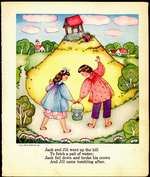 Jack and Jill Margot Austin 1944 Vintage Nursery Print Nice