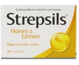 STREPSILS LOZENGES HONEY & LEMON RELIEVE SORE THROAT - $2.99