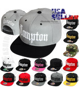 COMPTON Baseball Cap Hat Embroidered Snapback Adjustable Flat Brim Hip H... - $10.95