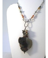 Agate Slice Necklace Wire Wrapped with Carnelian, Labradorite Citrine C... - $68.00