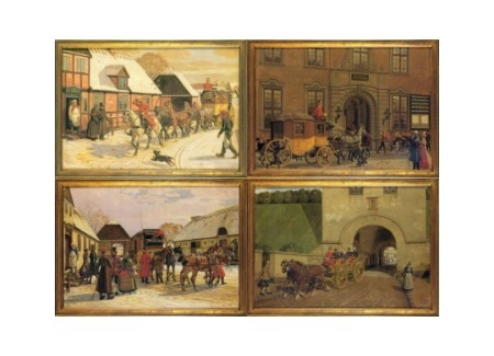 Postal Diligences. 4 Cards by Famous Danish 18th Century Painters, Series 2 of 3