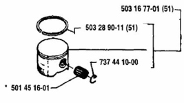 Piston Kit Assembly Husqvarna 51 50 Special 503167701  - $89.99