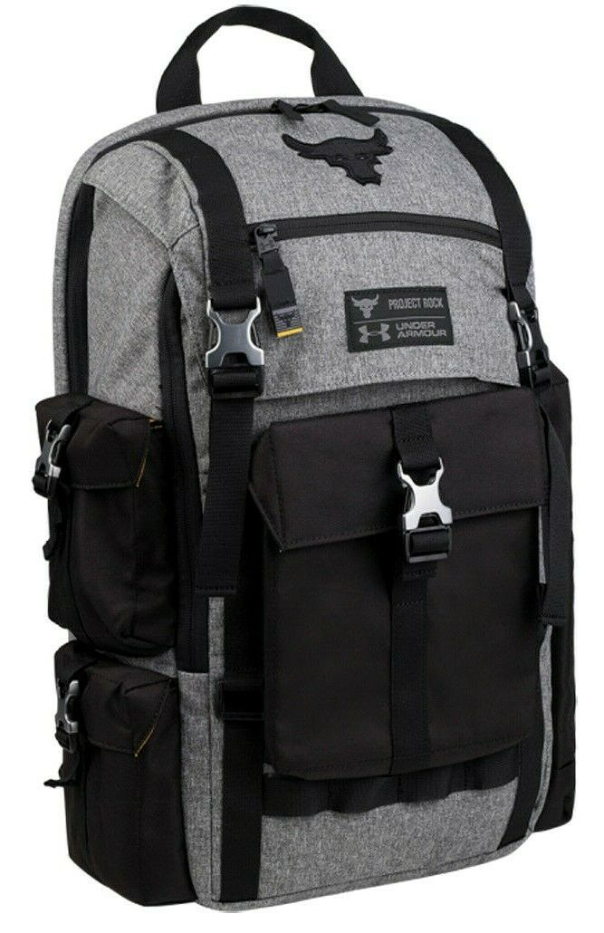 """UNDER ARMOUR UA PROJECT ROCK REGIMENT BACKPACK """"THE ROCK"""" BLACK/GREY NEW W/TAGS image 6"""