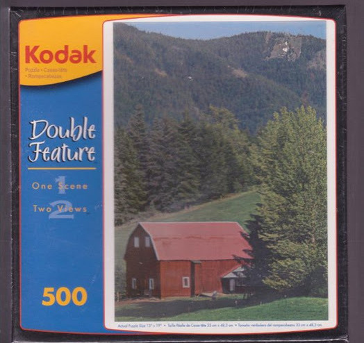 Primary image for Kodak Red Barn Puzzle 500 3D Wilderness Farm Summer and Snow Scene in One