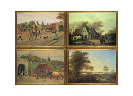 Postal Diligences. 4 Cards by Famous Danish 18th Century Painters, Series 3 of 3