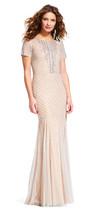 Adrianna Papell Short Sleeve Mermaid Dress with Beaded Neckline - $168.29+