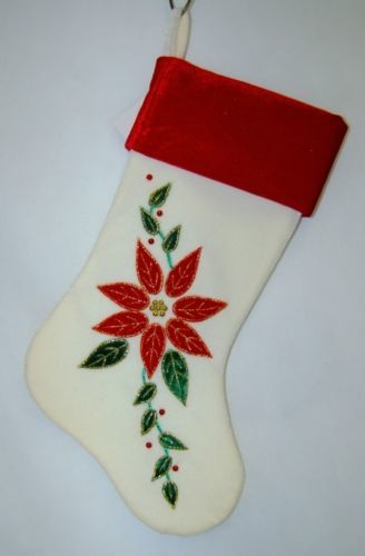 Sterling 22010027 Ivory Velvet Christmas Stocking Poinsettia Design