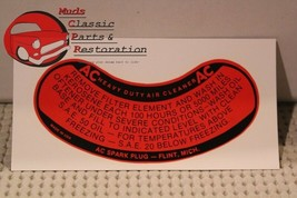 Chevy Air Cleaner Decal for all Passenger Car Dual Four Barrels 1956 and later - $8.68