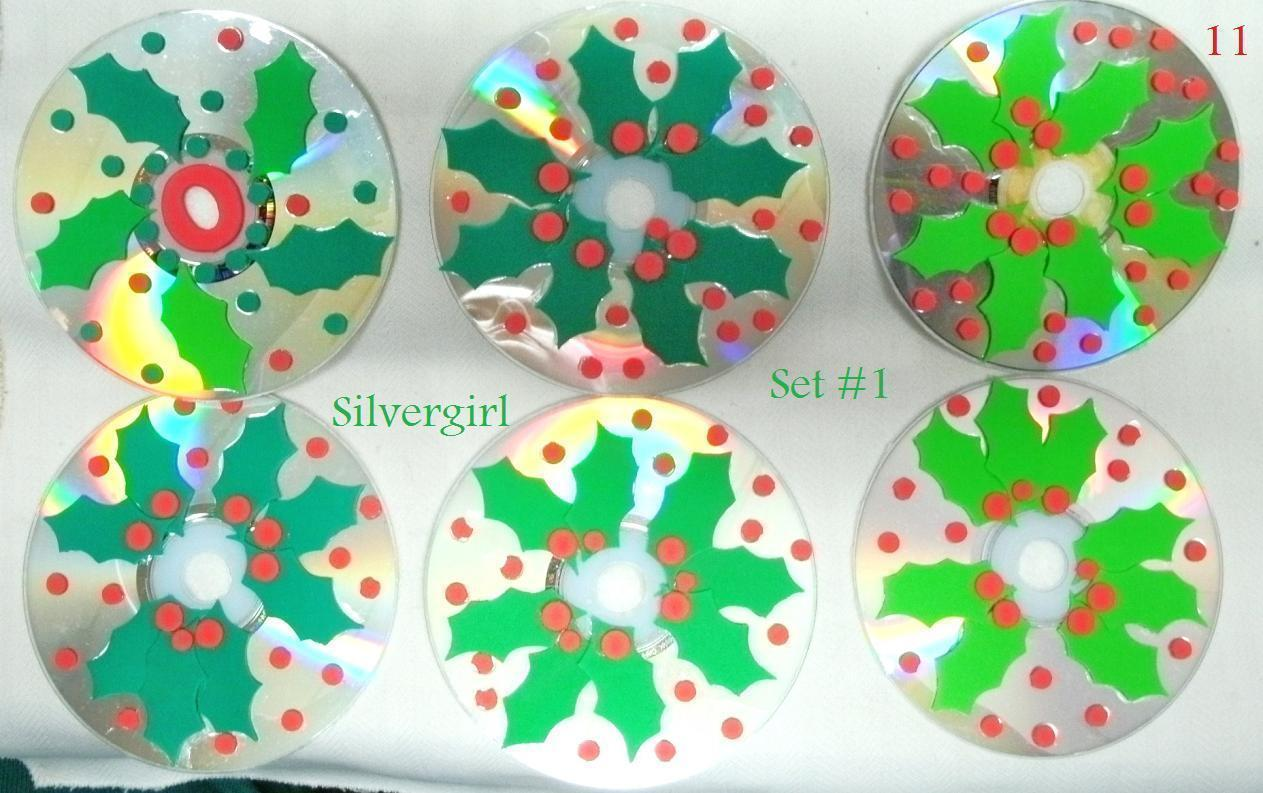 Primary image for Handmade Set of 6 Holly Berry and Leaves CD Disc Drink Coasters