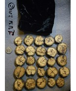 Handmade Drift Wood Futhark Rune Set with Pouch Pagan Wicca Divination O... - $6.99
