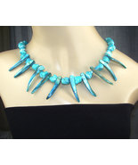 Turquoise Shell Pearl Choker Necklace Statement Necklace - $89.00