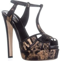 Sergio Rossi A59400 T-Strap Platform Sandals, Mud/Black, 7.5 US / 39 EU - $460.79