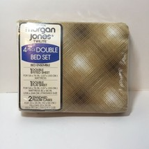 Country Plaid 4 Piece Double Sheet Set Morgan Jones NOS Brown - $29.02