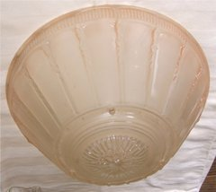 Pink Art Deco Antique Glass 3 Chain Dish Shade - $35.00