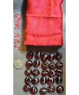 Red-colored Glass Futhark Rune Set with pouch Pagan Divination Wiccan Or... - $4.99
