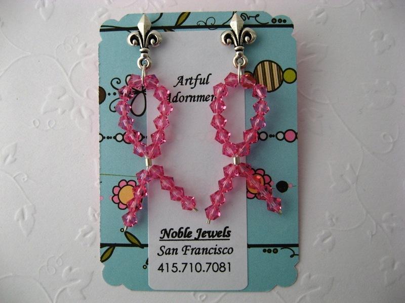 Lauren's Hope Pink Crystal Earrings Handmade by Chula