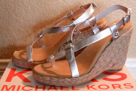 NIB MICHAEL KORS Ariel Silver Leather Wedge Sandals Sz 10 NEW (MAKE AN O... - $154.44